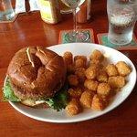 Veggie burger & tater tots
