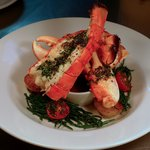 Fresh Boulmer lobster on warm samphire & tomato salad with Bloody Mary sauce.