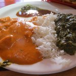 chicken tika masala, rice, and sag paneer