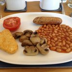 Hot breakfast with a delicious vegetarian sausage