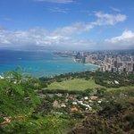 On top of Diamond Head looking down on Waikiki