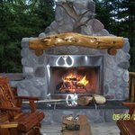 Outdoor fireplace at the Yukon Jack Cabin
