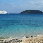 Shot of our cruise ship, P&O Pacific Jewel from the beach on Dravuni Island