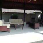 Outdoor seating area with TV