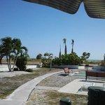 Blick vom Motel auf den Strand