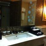 Bathroom sink and amenities.
