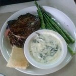 Awesome Delmonico bison with asparagus and creamed spinach