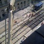 New tram lines go in outside our window...