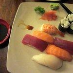 Sushi and sashimi platter.