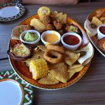 A sharing platter that has frozen 'Iceland' style items.