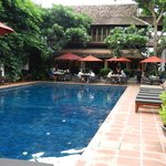 the pool and restaurant