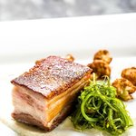 Pressed pork belly w/ roasted apple, watercress, apple candy & pistachio dust