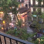 La Rambla from our room, famous fruit and veg market opposite!