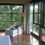 loor-to-ceiling windows surrounded the room- spectacular views