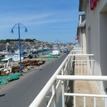 The balcony overlooking the port
