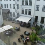 view from room into hotel courtyard