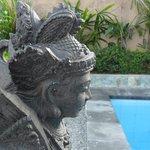 Fountain overlooking pool