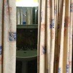 Curtains at bathroom entrance