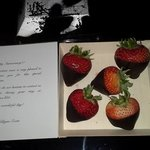 Chocolate dipped strawberries and card for our anniversary