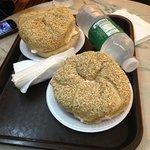Sesame bagel with salmon cheese cream. Yummi!!