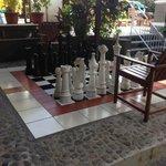 Giant chess set near the pool