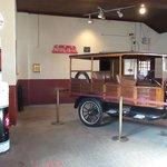 vintage cars in the garage accross street - thru underground tunnel