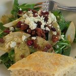 Arugula and pear salad with nuts and cranberries!