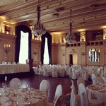 One of the ballrooms at the Fort Garry Hotel, set up for a wedding.
