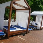 The fabulous four-poster beds on the beach