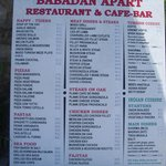 Babadan menu and prices.