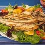 Whole grilled sea bass (fish of the day special)