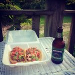 shrimp and fish tacos and a local brew from the IGA