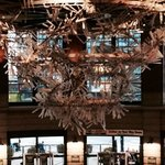 spectacular chandelier made of recycled bats