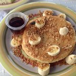 Delicious pancakes, oatmeal, and bananas for complementary breakfast