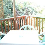Terrace with BBQ overlooking lush vegetation
