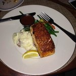 Salmon on mashed garlic potatoes
