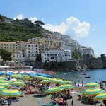 Public beach in town of Amalfi