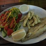 Calamari & hake combo with salad