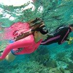 Gwen snorkeling with Jolene