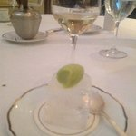 the chef's complimentary finale!  a mint, basil, and yuzu mousse on an icecube!