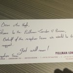 The lovely get well soon note left by reception - the Pullman goes over and above to make guests