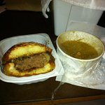 Green Chili Burger with a side of Chili