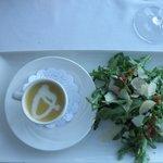 butternut squash soup rocket salad, blanc de noir sparkling