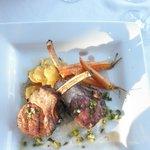lamb rack, fingerling potatoes,carrots ,salsa verde ,syrah