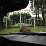 Entering hotel