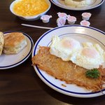 Eggs, hashbrowns, and biscuits.