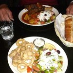 Calamari & greek salad, roasted lamb dinner