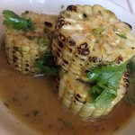 Grilled corn in line cilantro sauce is such a perfect compliment to all of the great fresh seafo