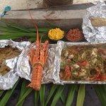 Lobster/fish/conch , beach bar be q