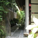One of the walkway to one of the outdoor shower area
